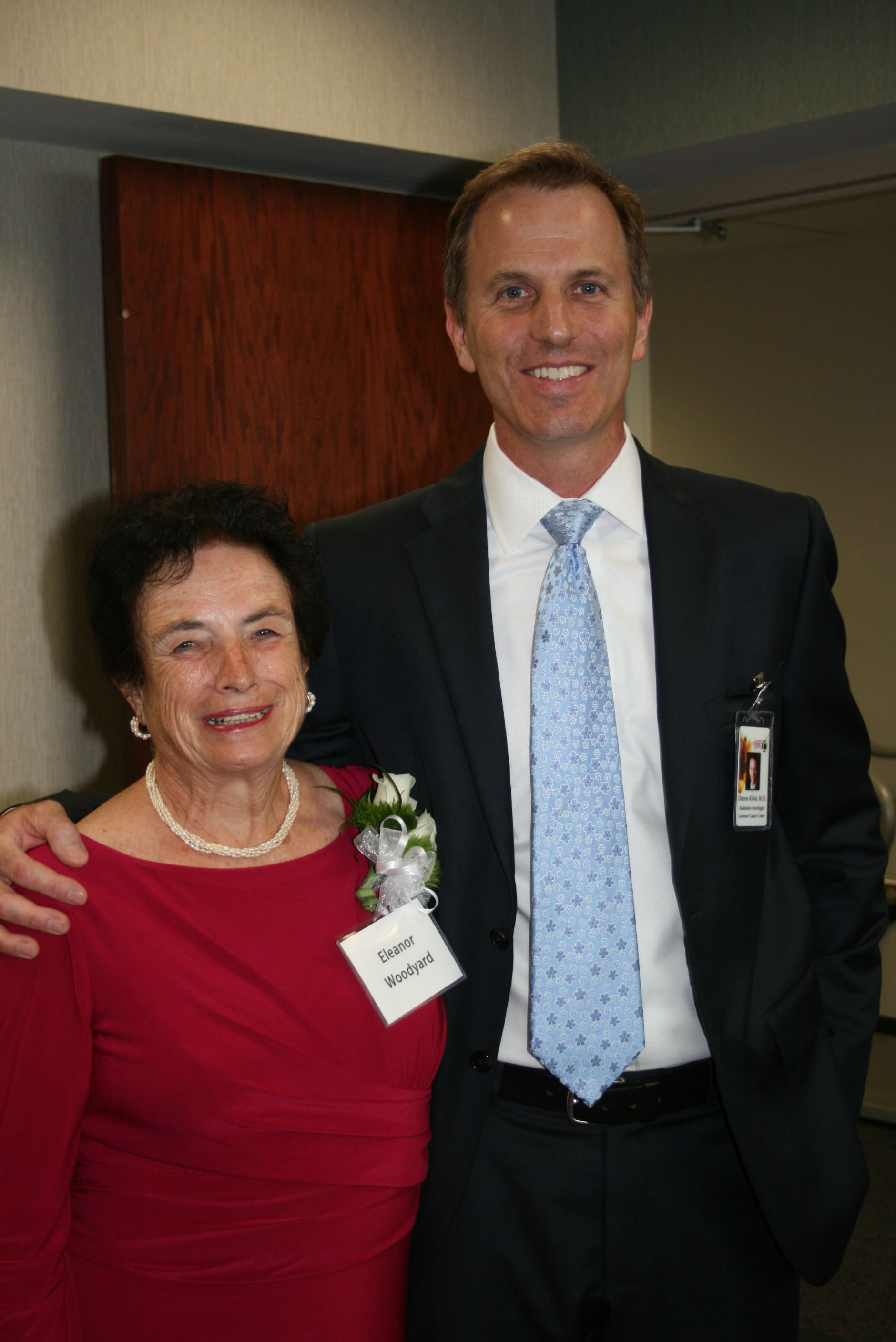 Eleanor Woodyard's gift to Lawrence Memorial Endowment Association made a new entryway possible for the Lawrence Cancer Center. Pictured with Woodyard is Dr. Darren Klish of the center.