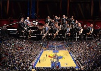 Jazz performers above KU Basketball court