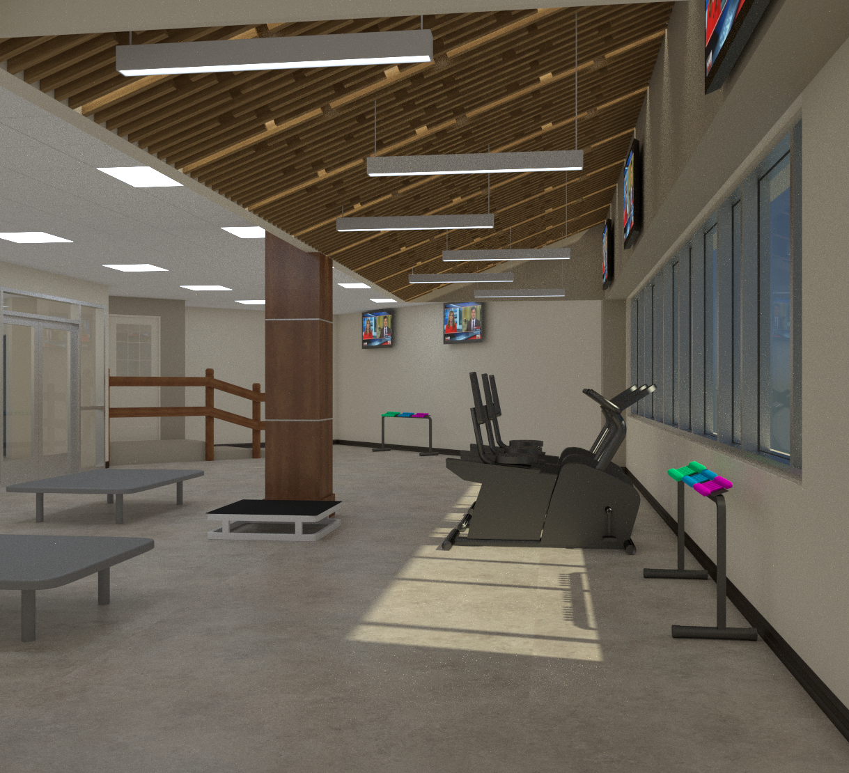 Architect's rendering of new rehab gym.