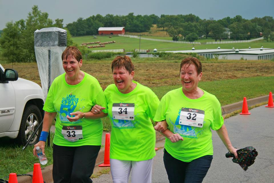 These three walkers were having fun at the LMH Summer Spray 5K in Tonganoxie. Pictured, from left, are Nickie Perry, Sheryl Sparks and Beverly Stone.